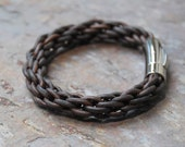 Antique Brown Leather Kumihimo Bracelet