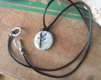 FEHU rune necklace - viking runes - rune pendant - elder futhark - occult jewelry, wicca, wiccan jewelry, pagan,witchy, witchcraft