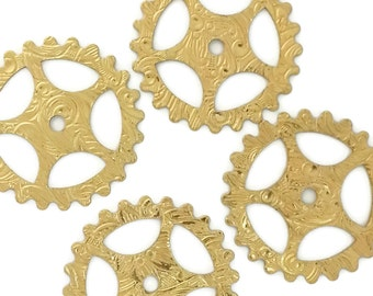 Steampunk FILIGREE FLORAL Gears in Golden Raw Brass 25mm Qty 4 Lot Assemblage Altered Art Made in the USA