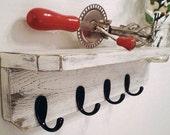 Shelf with Hooks, Shabby Chic Shelf With Vase, French Country, Primitive Shelf with Mason Jar, Urban Home Decor, Industrial Decor