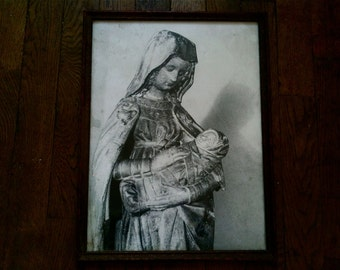 Vintage mother and child black and white print religion religious circa 1940's / English Shop
