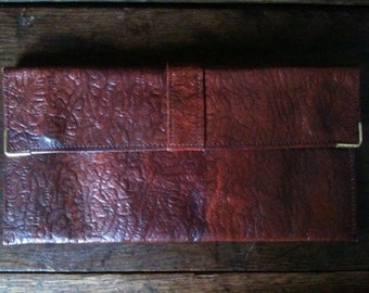 Vintage English Leather Brown Note Wallet circa 1970-80's / English Shop