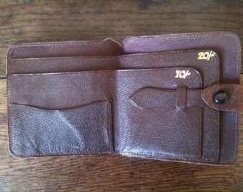 Vintage English Brown Leather Folding Wallet circa 1960's / English Shop