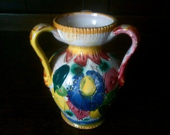 Vintage English Colour Pop Colourful Vase Jug circa 1960-70's / English Shop