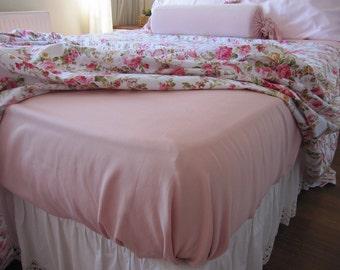 Solid pale pink, peach pink FITTED sheet- regular loose sheet with pillow case Twin XL Bed sheet sets -Deep pocket-cotton sateen Nurdanceyiz