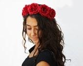 Red Rose Crown, Day of the Dead, Rose Headband, Rose Flower Crown, Frida Kahlo, Dia de los Muertos headband, Red Rose Headband, Rose Crown