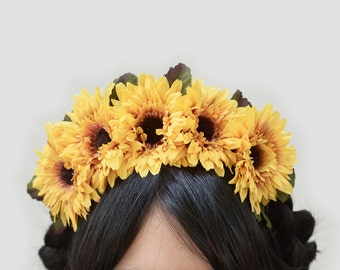 Sunflower Day of Dead Headpiece,  Dia de Los Muertos Costume, Frida Kahlo Flower Crown, Floral Crown, Sunflowers, Sunflower Headband, Boho