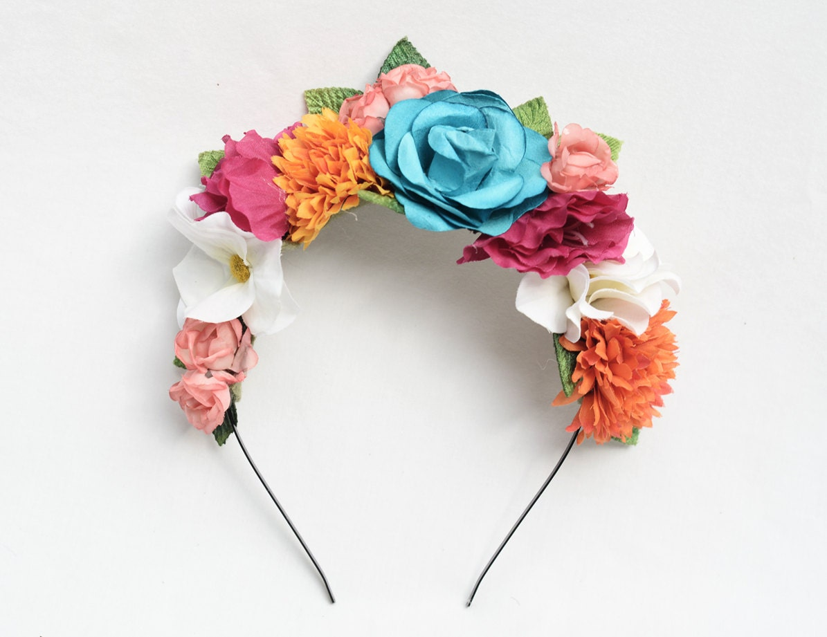 Reserved for scarlett frida kahlo colorful floral headband - Flores para diademas ...