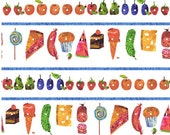 The Very Hungry Caterpillar Food Stripe by Eric Carle for Andover Fabrics