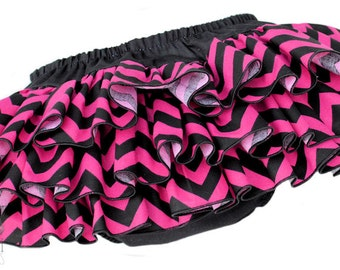 Hot Pink and Black Chevron Ruffle Diaper Cover Ruffle Bloomer Panty Pants