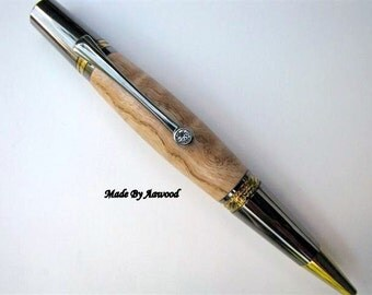 Pen wood Majestic Squire Gold T/N & Gun Metal Ballpoint Pen in  Woodturning of Curly Maple Wood. College student lawyer