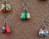 Matryoshka doll earrings different colours hand painted wooden