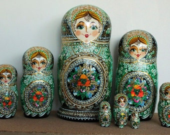 Green Nesting dolls Russian babushka stacking dolls set of 10 Sale Sale