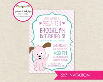 Pink Puppy Birthday Invitation, Pink Puppy Birthday, Pink Puppy Printables, Pink Puppy Birthday Decorations, Lauren Haddox Designs