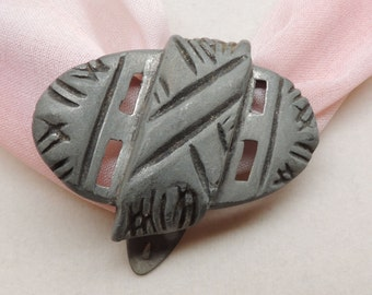 Vintage Metal Dress or Fur Clip with Geometric Pattern