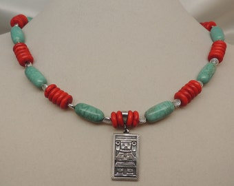 Semi-Vintage Coral and Turquoise Necklace with Silver Pendant