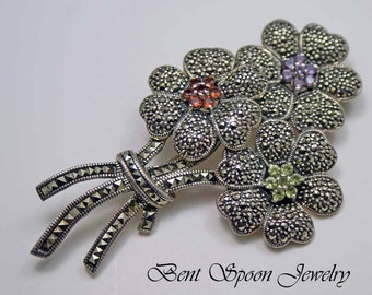 Vintage Sterling Silver Marcasite and gemstone Large Flower Pin, Brooch Lapel Pin, Dress Pin