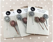 12 pc Hair Clip Bobby Pin Bezels Frames & Filigree DIY Antiqued Silver and Copper Barrette Craft Project Blanks