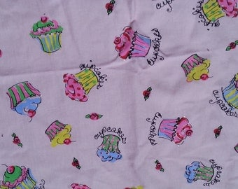 Pretty Cupcakes on Pink Cotton Lycra Knit Fabric