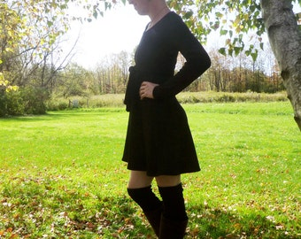 Organic Clothing Merino Wool Sweater Dress Organic Knit Wool Black Dress Organic Womens Clothing High Waisted Dress Eco Conscious Clothing