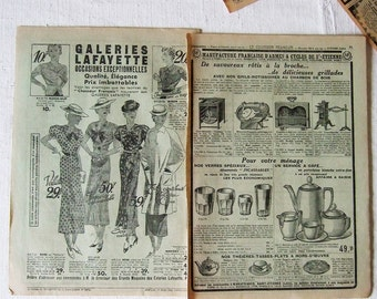 Bundle 20 French Advert pages 1936 clothing home decor & MORE