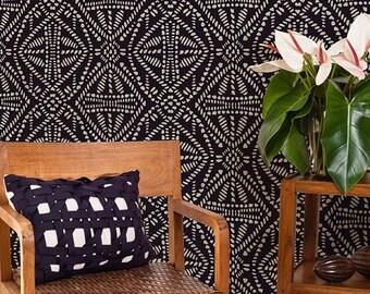 African Batik Allover Tribal Wall Stencil for Wallpaper Look