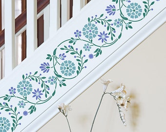 Flower Embroidery Wall Border Stencil - Indian Wall Decor Painted Flowers Border on Ceiling, Walls, Furniture