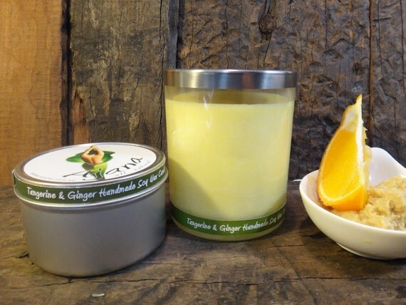 Tangerine & Ginger  Handmade Soy Wax Candle - (Essential Oil) - Flat Rate Shipping Now Available!