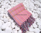 Turkishtowel-Hand woven,20/2 cotton warp and weft Rainbow,Diamond Turkish Bath,Beach Towel-Coral Pink and lilac weft