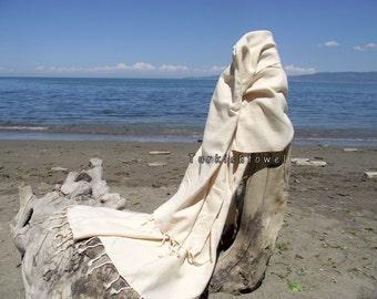 Turkishtowel-Hand woven,20/2 cotton warp and weft Rainbow,Diamond Turkish Bath,Beach Towel-Natural Cream