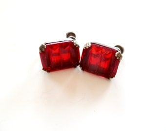 Art Deco Red Czech Glass Earrings