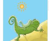 Children's Wall Art Print - Kids Decor - Whimsical and Sweet Wall Art Illustration - kids nursery - Cute Animal Series - The Iguana