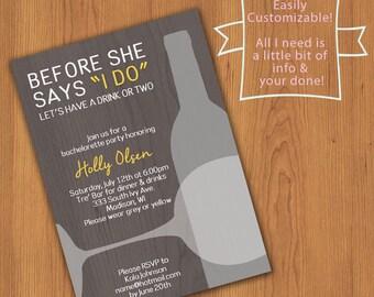 I do - bachelorette invite - custom printable pdf