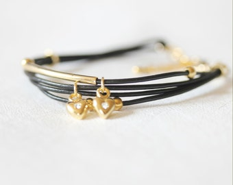 Mini Heart Charm and Ball Ornament Leather Bracelet(Black)