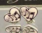 I love Music Stud Earrings - Music Note hearts