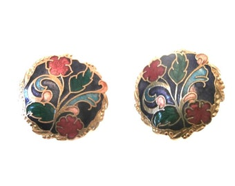Enamel Flower Design  Earrings