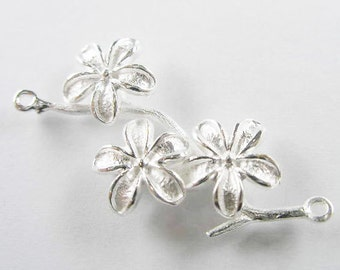 1 of 925 Sterling Silver  Flower Branch Link, Connector  18x37mm. :th1647