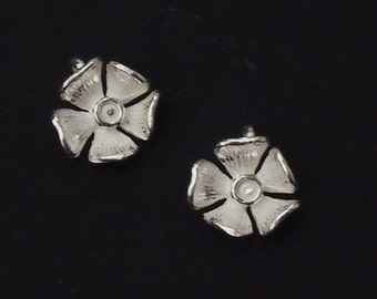 4 of 925 Sterling Silver Flower Charm 9mm.  :th1714