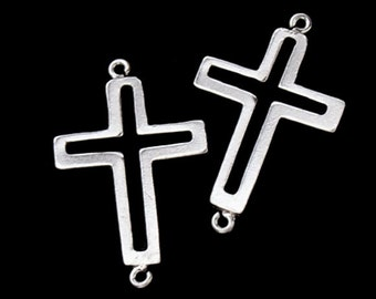 4 of 925 Sterling Silver Cross Links ,Connectors  11x15 mm. :th1858