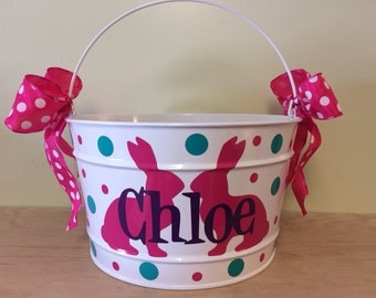 Personalized Gift basket, 16 quart metal bucket, name or monogram, polka dots, Teacher, Easter, baby, or birthday gift, bunny design