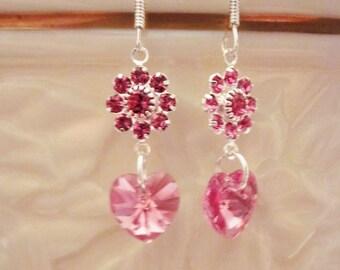 Swarovski Crystal Rose Earrings, Dangles, Hearts, Sterling Silver, October Birthstone, Bridal, Wedding, Bridesmaid, Formal, Prom,SRAJD