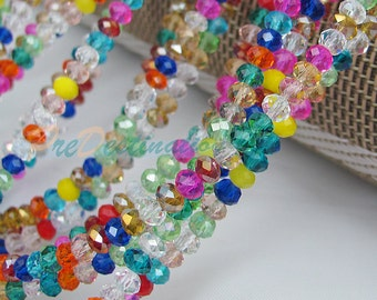 One Strand(about 15inches) Gorgeous Colorful Czech Glass Rondelle Beads 4X3mm Faceted Oblate