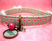 Safety cat collar - Mini dog collar - Personalized Name Charm - Pet Tag - Cat Tag - Antique Brass - Pink Flowers