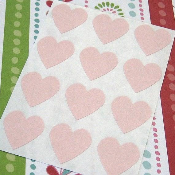 108 Heart Sticker Seals Baby Pink 3/4 inch