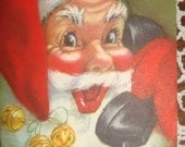 C597 Vintage Christmas Greeting Card - Santa by artist Eve Rockwell