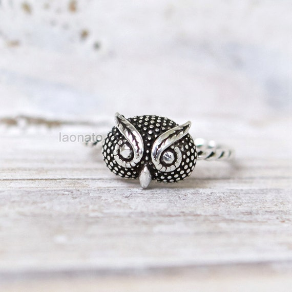 items similar to sterling silver owl ring on etsy
