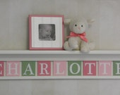 "Baby Nursery with Wall Shelf Pink Green Name Sign  36"" (White) or (Off White) Shelf - 9 Letter Wooden - CHARLOTTE"