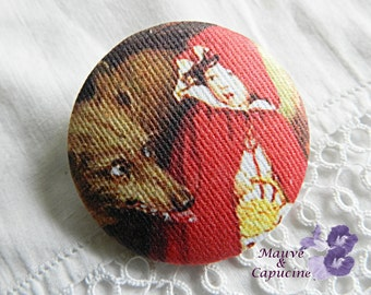 Fabric button, printed Little Red Riding Hood, 0.86 in / 22 mm