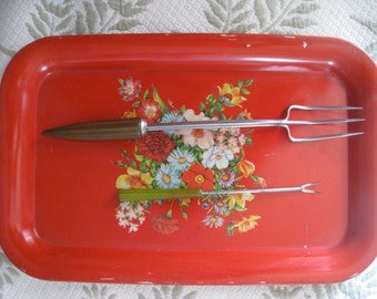 Bakelite Handles Serving Forks Retro Mid Century Modern Serving Pieces