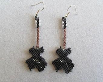 Guitar Earrings in Delica seed beads